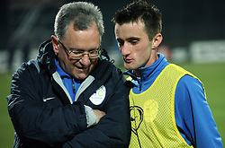 Team doctor Vasja Kruh and Amer Jukan of Slovenia before the UEFA Friendly match between national teams of Slovenia and Denmark at the Stadium on February 6, 2008 in Nova Gorica, Slovenia. Slovenia lost 2:1. (Photo by Vid Ponikvar / Sportal Images).