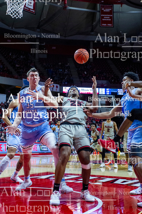NORMAL, IL - February 08: Jaycee Hillsman gets hammer while taking a shot inside during a college basketball game between the ISU Redbirds and the Indiana State Sycamores on February 08 2020 at Redbird Arena in Normal, IL. (Photo by Alan Look)
