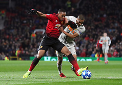 Manchester United's Anthony Martial (left) and BSC Young Boys' Mohamed Ali Camara battle for the ball during the UEFA Champions League, Group H match at Old Trafford, Manchester. PRESS ASSOCIATION Photo. Picture date: Tuesday November 27, 2018. See PA story SOCCER Man Utd. Photo credit should read: Martin Rickett/PA Wire.
