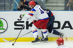 Nikolai Kulyomin of Russia vs Tomas Jurco of Slovakia during Ice Hockey match between Slovakia and Russia at Day 10 in Group B of 2015 IIHF World Championship, on May 10, 2015 in CEZ Arena, Ostrava, Czech Republic. Photo by Vid Ponikvar / Sportida