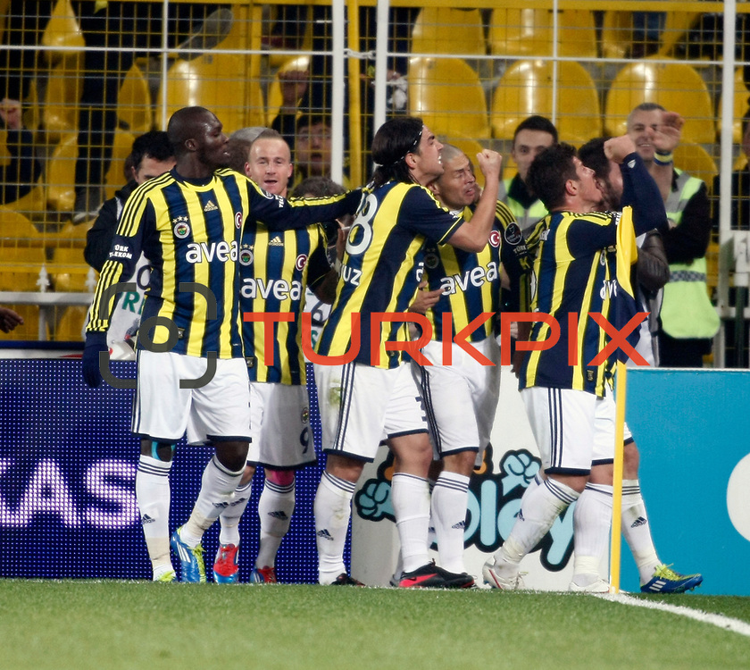 Fenerbahce's Alexsandro de Souza (2ndR) celebrate his goal with team mate during their Turkish superleague soccer derby match Fenerbahce between Galatasaray at Sukru Saracaoglu stadium in Istanbul Turkey on Saturday 17 March 2012. Photo by TURKPIX