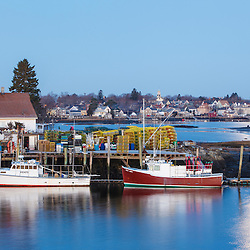 Lobster boats docked in the Piscataqua River in Portsmouth, New Hampshire.