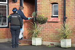 © Licensed to London News Pictures 02/02/2021.        Maidstone, UK. Door to door testing for the South African variant of Covid-19 has started in the Maidstone area of Kent this afternoon. Police, Fire and NHS staff along with volunteers from Kent Search and Rescue and Kent County Council are handing out PCR tests to residents than collecting them an hour later. Photo credit:Grant Falvey/LNP