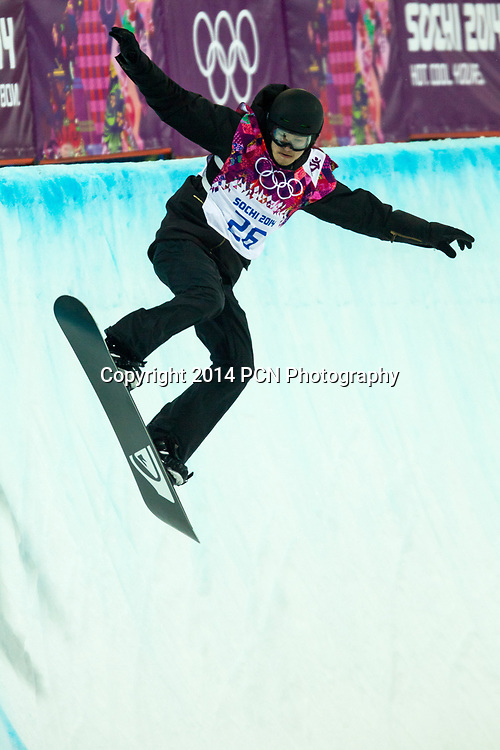 Iouri Podladtchikov  (SUI) gold medalist competing in Men's Snowboard Halfpipe at the Olympic Winter Games, Sochi 2014