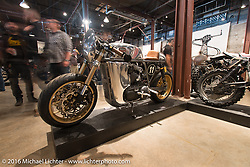 Curtis Miller's custom Ardent Motorcycles Harley-Davidson 2009 Sportster Cafe Racer  on Saturday in the Handbuilt Motorcycle Show. Austin, TX, USA. April 9, 2016.  Photography ©2016 Michael Lichter.