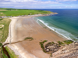 Aerial view from drone of  Beach at Sandend on Moray Firth in Aberdeenshire, Scotland, UK