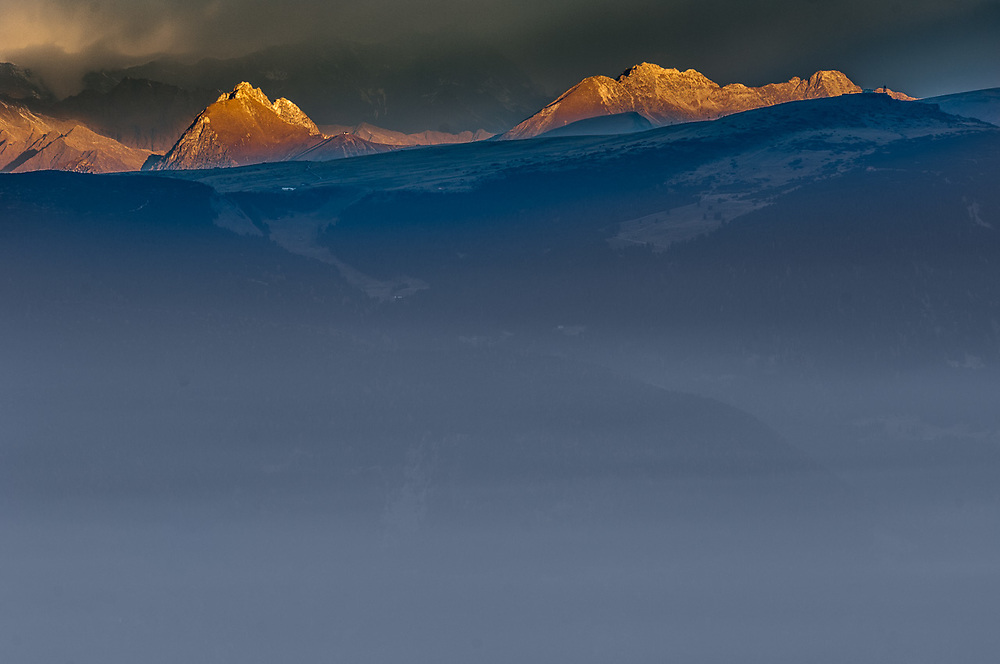 The Dolomites mountain range, morning light, October 2007, view from the Schlern-Rosengarten Nature Reserve area, South Tyrol, Italy