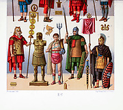 Ancient Roman fashion and accessories from Geschichte des kostüms in chronologischer entwicklung (History of the costume in chronological development) by Racinet, A. (Auguste), 1825-1893. and Rosenberg, Adolf, 1850-1906, Volume 1 printed in Berlin in 1888