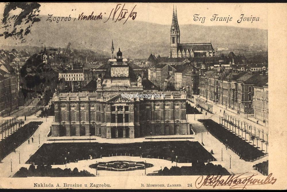 Zagreb : Trg Franje Josipa. <br /> <br /> ImpresumZagreb : Naklada A. Brusine, [1903.].<br /> Materijalni opis1 razglednica : tisak ; 8,8 x 13,7 cm.<br /> SuradnikMosinger, Rudolf(1865.–1918.)<br /> NakladnikTiskara A. Brusina<br /> Vrstavizualna građa • razglednice<br /> ZbirkaGrafička zbirka NSK • Zbirka razglednica<br /> ProjektPozdrav iz Hrvatske<br /> Formatimage/jpeg<br /> PredmetZagreb –– Trg kralja Tomislava<br /> Umjetnički paviljon (Zagreb)<br /> SignaturaRZG-TOM-17<br /> Obuhvat(vremenski)20. stoljeće<br /> NapomenaRazglednica je putovala 1903. godine. • Poleđina razglednice namijenjena je samo za adresu.<br /> PravaJavno dobro<br /> Identifikatori000952752<br /> NBN.HRNBN: urn:nbn:hr:238:603519 <br /> <br /> Izvor: Digitalne zbirke Nacionalne i sveučilišne knjižnice u Zagrebu