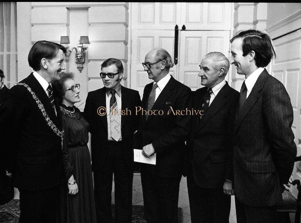Cork School Of Music..Centennial Concert At Trinity College, Dublin. (M64)..1979..01.04.1979..04.01.1979..1st April 1979..An Taoiseach,Mr Jack Lynch TD,was guest of honour at Cork School of Music,Centennial Concert presented by The Music Association of Ireland. The concert was sponsored by Raybestos Manhattan, McCullogh-Piggot Ltd and Trinity College Dublin.The event took place in the examination hall in the college..Pictured at the concert reception were (L-R), Councillor Brian Sloane, Lord Mayor of Cork,Ms Bridget Doolan,Director of The Cork School of Music,Mr Pat Hackett,Managing Director, Raybestos Manhattan,An Taoiseach Mr Jack Lynch TD,Councillor Tom Brosnan, Chairman Cork VEC and Mr Ray McCarthy,representing the CEO City of Cork.