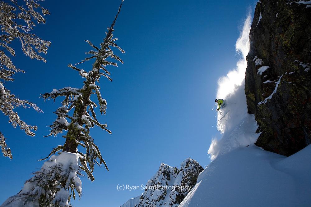 Jeremy Benson skis fresh pow on Tahoe's West Shore