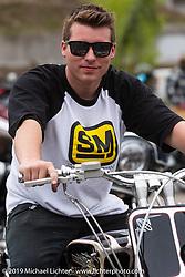 "Kyle Ray Rice on his 108 ci Shovelhead ""Bad Company"" at the Ace Cafe Dyna-FXR show during Daytona Bike Week. Orlando, FL. USA. Saturday March 10, 2018. Photography ©2018 Michael Lichter."