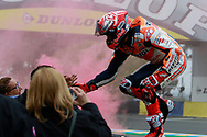 #93 Marc Marquez, Spanish: Repsol Honda Team salutes his fans during racing on the Bugatti Circuit at Le Mans, Le Mans, France on 19 May 2019.