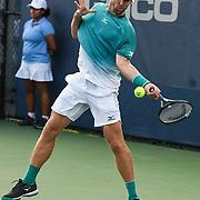 BRADLEY KLAHN hits a forehand at the Rock Creek Tennis Center.