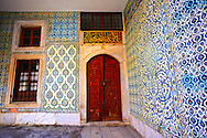Entrance to the apartments of  the Eunuchs in the Harem. Topkapi Palace, Istanbul, Turkey .<br /> <br /> If you prefer to buy from our ALAMY PHOTO LIBRARY  Collection visit : https://www.alamy.com/portfolio/paul-williams-funkystock/topkapi-palace-istanbul.html<br /> <br /> Visit our TURKEY PHOTO COLLECTIONS for more photos to download or buy as wall art prints https://funkystock.photoshelter.com/gallery-collection/3f-Pictures-of-Turkey-Turkey-Photos-Images-Fotos/C0000U.hJWkZxAbg