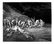 Charon herds the sinners onto his boat From the Divine Comedy by 14th century Italian poet Dante Alighieri. 1860 artwork, by French artist Gustave Dore and engraved by Stephane Pannemaker, from 'The Vision of Hell' (1868), Cary's English translation of the Inferno. Dante wrote his epic poem 'Divina Commedia' (The Divine Comedy) between 1308 and his death in 1321. Consisting of 14,233 lines, and divided into three parts (Inferno, Purgatorio, and Paradiso), it is considered the greatest literary work in the Italian language and a world masterpiece. It is a comprehensive survey of medieval theology, literature and thought. The new non-dialect poetic language Dante created became the basis of modern Italian.