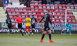 Dunfermline's Lewis Martin scoring their second goal.half time : Dunfermline 4 v 0 Partick Thistle, Scottish Championship game played 30/11/2019 at Dunfermline's home ground, East End Park.