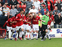 Photo: Mark Stephenson.<br />Walsall v Hereford United. Coca Cola League 2. 09/04/2007. Walsall's Dean Keates 4th from right, celebrates his goal with teammates