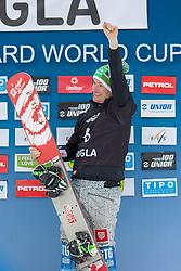 Rok Marguc (SLO) celebrates during Final Run at Parallel Giant Slalom at FIS Snowboard World Cup Rogla 2019, on January 19, 2019 at Course Jasa, Rogla, Slovenia. Photo byJurij Vodusek / Sportida