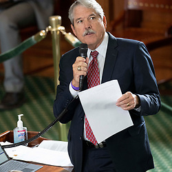 Texas Senate action on Tuesday, May 18, 2021 showing  Sen. Larry Taylor, R-Friendswood.