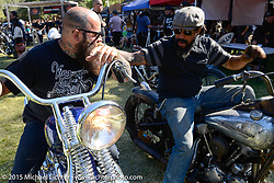Invited builder Bobby Middleton (King Kustoms, Lombard, IL) with Chicago Wil Thomas on day  two of the Born Free Vintage Chopper and Classic Motorcycle Show at the Oak Canyon Ranch in Silverado, CA. USA. Sunday, June 29, 2014.  Photography ©2014 Michael Lichter.