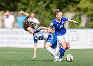 Natalie Gutteridge (Durham Womens FC) tackles Finnigan (Everton Ladies)  during the FA Women's Super League match between Durham Women FC and Everton Ladies at New Ferens Park, Belmont, United Kingdom on 30 August 2015. Photo by George Ledger.