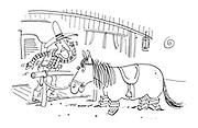 (A cowboy comes out of a saloon to discover his horse's legs have been removed and it is supported by bricks)