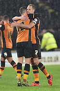 Hull City midfielder David Meyler and Hull City midfielder Robert Snodgrass celebrate wining 1-0 at end of match during the Sky Bet Championship match between Hull City and Bolton Wanderers at the KC Stadium, Kingston upon Hull, England on 12 December 2015. Photo by Ian Lyall.