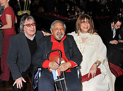 Left to right, BILL WYMAN,  SIR V S NAIPAUL and LADY NAIPAUL at W London - Leicester Square for the Liberatum Cultural Honour in Spice Market for John Hurt, CBE in association with artist Svetlana K-Lié on 10th April 2013.