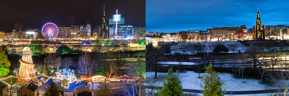Edinburgh, Scotland, UK. 31 December 2020. Contrasting mages from Hogmanay in 2019 and 2010 showing the effects of the Covid-19 lockdown on celebrations in the city.  In 2019 a large Christmas Market was in Princes Street Gardens and several live music stages were erected on the city streets. Pic; Christmas Market in 2019 contrasts with an empty Princes Street gardens in 2020. Iain Masterton/Alamy Live News