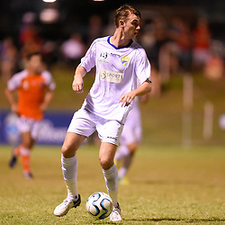 BRISBANE, AUSTRALIA - FEBRUARY 10: Samuel Johnson of United in action during the NPL Queensland Senior Mens Round 2 match between Gold Coast United and Brisbane Roar Youth at Station Reserve on February 10, 2018 in Brisbane, Australia. (Photo by Football Click / Patrick Kearney)