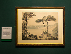 Pictured:  Turner art exhibition. Lake Albano by Turner. For more than a century the National Galleries of Scotland (NGS) have displayed an outstanding collection of Turner watercolours, from the 38 paintings bequeathed by Henry Vaughan in 1900. His will stipulated that the paintings should only be shown in January when daylight in Edinburgh is weak. The annual exhibition by artist Joseph Mallord William Turner (1775-1851) is supported by players of People's Postcode Lottery for the 7th year running. The focal point is a dramatic portrait of the Bell Rock lighthouse built by Robert Stevenson (1772-1850) which was commissioned 200 years ago by the lighthouse engineer to illustrate his book 'Account of the Building of Bell Rock Lighthouse'. Bell Rock is the oldest surviving rock lighthouse in the British Isles, first lit in 1811. It stands on a partially submerged reef near Angus, regarded by sailors as among the most dangerous places on the east coast of Scotland. The exhibition opens on New Year's Day at Scottish National Gallery and last for one month. 20 December 2018  <br /> <br /> Sally Anderson   EdinburghElitemedia.co.uk