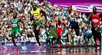 LONDON OLYMPIC GAMES 2012 - OLYMPIC STADIUM , LONDON (ENG) - 04/08/2012 - PHOTO : VINCENT CURUTCHET / KMSP / DPPI<br /> ATHLETICS - 100M - HEAT - USAIN BOLT (JAM)