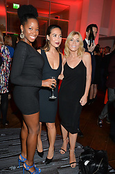 Left to right, singer and TV presenter JAMELIA, MYLEENE KLASS and MICHELLE COLLINS at a party to celebrate the 21st anniversary of The Roar Group hosted by Jonathan Shalit held at Avenue, 9 St.James's Street, London on 21st September 2015.