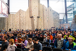 Spectators watch  the International Federation of Sport Climbing (IFSC) World Cup 2017 at Edinburgh International Climbing Arena, Scotland, United Kingdom.
