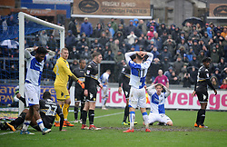 Bristol Rovers players can't believe Ellis Harrison's shot didn't go in - Mandatory by-line: Neil Brookman/JMP - 30/03/2018 - FOOTBALL - Memorial Stadium - Bristol, England - Bristol Rovers v Bury - Sky Bet League One
