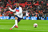 Raheem Sterling of England warming up before the UEFA European 2020 Qualifier match between England and Czech Republic at Wembley Stadium, London, England on 22 March 2019.