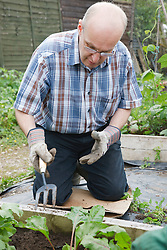 Man with learning disability working on allotment