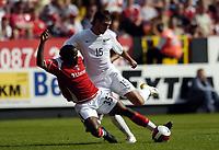 Photo: Olly Greenwood.<br />Charlton Athletic v New Zealand. Pre Season Friendly. 05/08/2006. Charltons Nathan Ashton and New Zealands Jarrod Smith