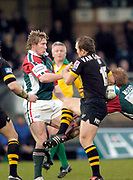 Wycombe. GREAT BRITAIN, 5th December 2004. Heineken Cup Rugby  London Wasps and Leicester Tigers,  Adams Park, ENGLAND, [Mandatory Credit; Peter Spurrier/Intersport-images].<br /> <br /> Tigers Olli Smith [left] and Mark van Gisbergan conest the high ball.