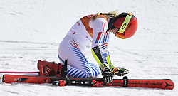 February 15, 2018 - Pyeongchang, South Korea - MIKAELA SHIFFRiN of the United States drops to the snow after winning gold in the Womens Giant Slalom event Thursday, February 15, 2018 at the Yongpyang Alpine Center at the Pyeongchang Winter Olympic Games.  Photo by Mark Reis, ZUMA Press/The Gazette (Credit Image: © Mark Reis via ZUMA Wire)