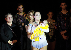 Lucija Mlinaric with her nephew during special artistic roller skating event when Lucija Mlinaric of Slovenia, World and European Champion ended her successful sports career, on November 7, 2015 in Rence, Slovenia. Photo by Vid Ponikvar / Sportida