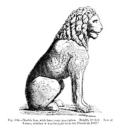 Marble lion, with later runic inscription. Now at Venice, whither it was brought from the Piraeus in 1687 from the book '  The viking age: the early history, manners, and customs of the ancestors of the English speaking nations ' by Du Chaillu, (Paul Belloni), 1835-1903 Publication date 1889 by C. Scribner's sons in New York,
