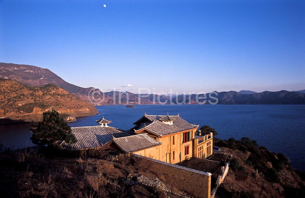Namu's Palace, house belongs to Namu a now famous Mo Suo minority  woman whom is a big star on Chinese TV. Lugu Lake, northwest Yunnan province.