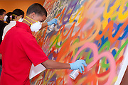 Hartford youth participate in the community art aspect of the Wadsworth's MATRIX 160 artist exhibit.