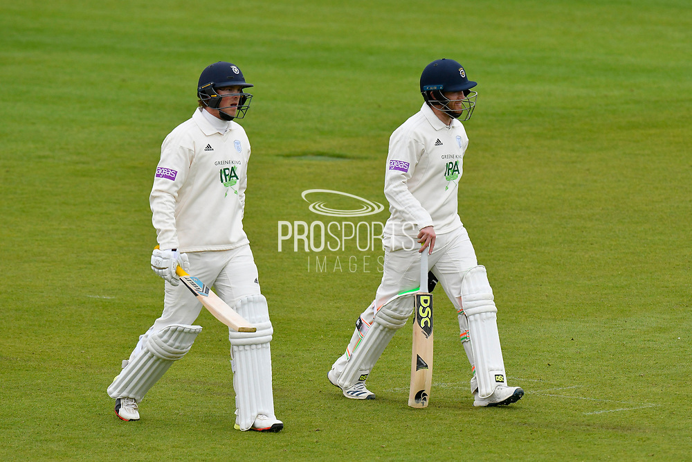 Bad light stops play - Sam Northeast of Hampshire and Liam Dawson of Hampshire walk off for bad light during the first day of the Specsavers County Champ Div 1 match between Hampshire County Cricket Club and Essex County Cricket Club at the Ageas Bowl, Southampton, United Kingdom on 5 April 2019.