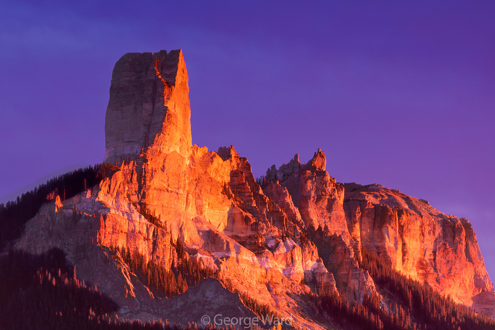 Courthouse Mountain and last Sunset Light, Owl Creek Pass, Uncompaghre National Forest, Colorado