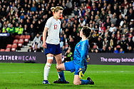 Ellen White (17) of England fronts up to Laura O'Sullivan (1) of Wales during the FIFA Women's World Cup UEFA Qualifier match between England Ladies and Wales Women at the St Mary's Stadium, Southampton, England on 6 April 2018. Picture by Graham Hunt.