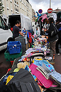 France, Paris, outdoor second hand clothes street market