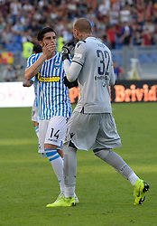 October 20, 2018 - Rome, Lazio, Italy - Vanja Milinkovic Savic and Kevin Bonifazi during the Italian Serie A football match between A.S. Roma and Spal at the Olympic Stadium in Rome, on october 20, 2018. (Credit Image: © Silvia Lore/NurPhoto via ZUMA Press)
